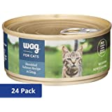 Amazon Brand - Wag Wet Cat Food, Shredded Salmon Recipe in Gravy, 5.5 oz Can (Pack of 24)