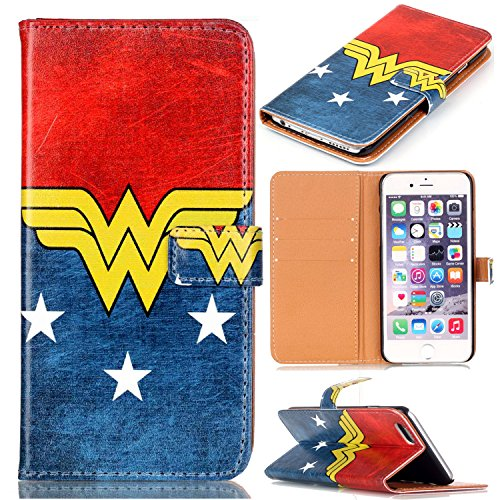 SunshineCase(TM) iphone 7 Case - Female Super Hero Logo Pattern Slim Wallet Card Flip Stand PU Leather Pouch Case Cover For Apple iphone 7 New Arrival - Cool as Great Gift -