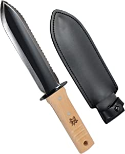 KaKUrI Hori Hori Knife with Sheath 12.5 Inch, Professional Carbon Steel Garden Knife, Ultimate Garden Tool for Digging, Planting and Weeding, Black and Silver