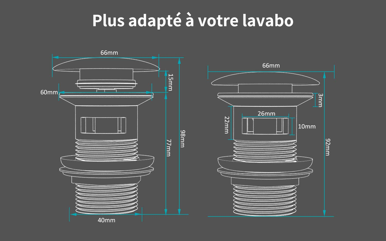 MEHOOM Pop-up Bonde de Vidage avec Trop-plein pour Lavabo de Salle de Bain Dimension Standard de 1 /¼ Bouchon de Vidange Chrom/é