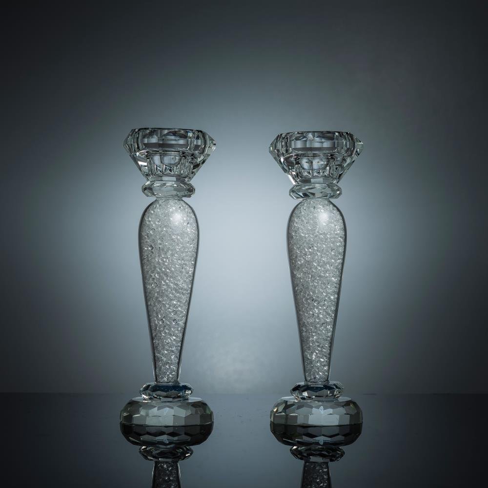 Matashi Premium Crystal Candlestick Radiant Gems Inside Stem | Contemporary Elegance and Style | Modern Kitchen, Dining, Or Living Room Use (Classic, Medium)