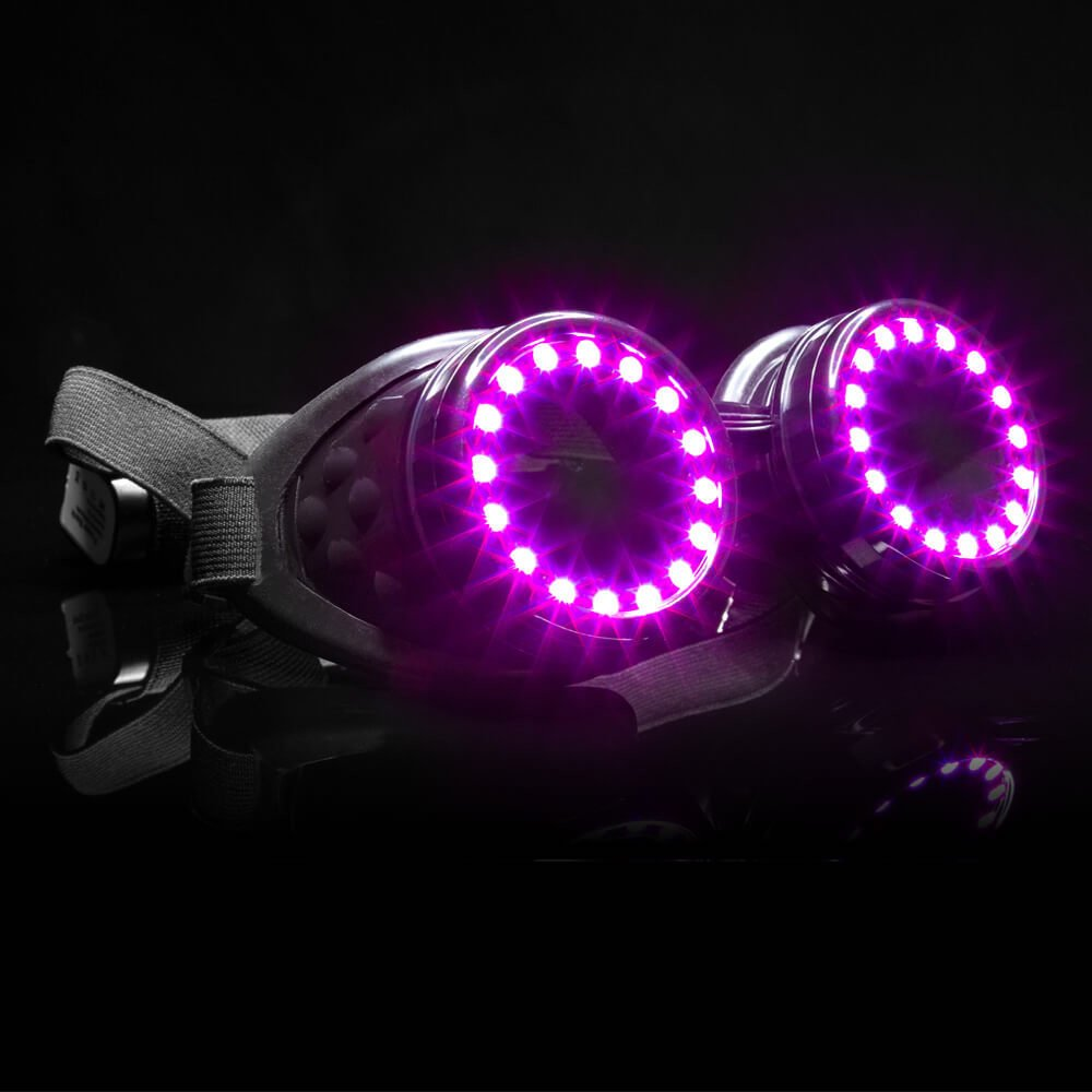 GloFX LED Pixel Pro Goggles [350+ Epic Modes] - Programmable Rechargeable Light Up EDM Festival Rave Party Sunglasses by GloFX (Image #5)