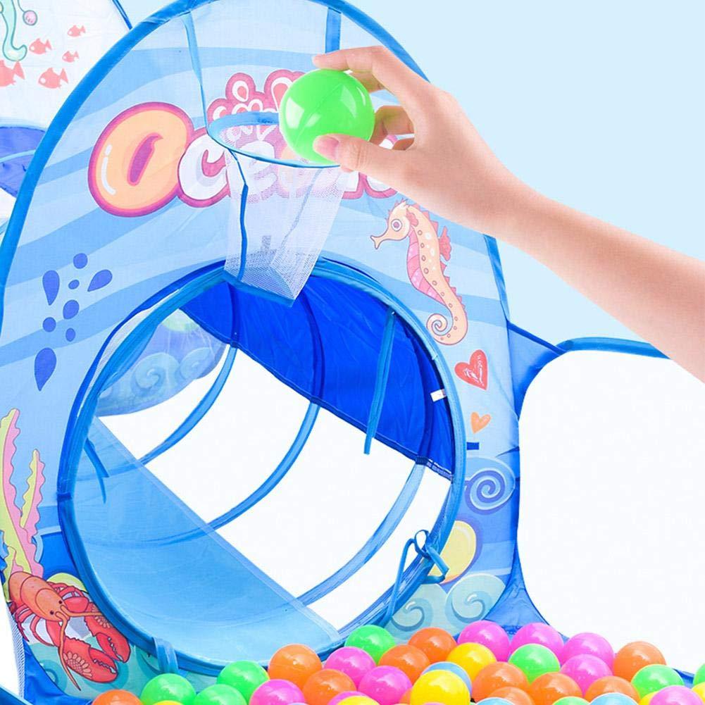 Haodene Tente d/'Enfants Tente de Jeu pour Enfants Maison et Tunnel Pop Up Tunnel Tente Piscine /à Boules pour Gar/çon Fille Int/érieur et Ext/érieur Bleu