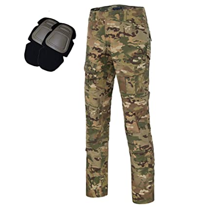 a889f3671 Men's Tactical Airsoft Pants Shirt with Knee Pads Camo Military Combat BDU Long  Sleeve Trousers (. Roll over image to ...