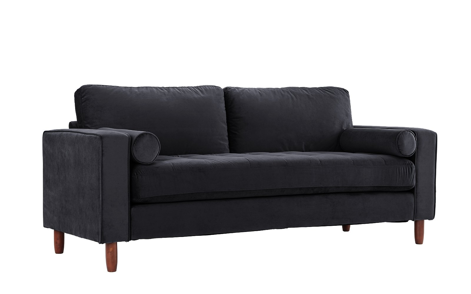 Mid Century Modern Velvet Fabric Sofa, Couch with Bolster Pillows (Black) - Divano Roma Furniture's upholstered sofa with bolster pillows comes in soft and bright color variances Features hand picked soft velvet fabric upholstery with 4 wooden legs Firmly padded cushions that use high density memory foam for added comfort - sofas-couches, living-room-furniture, living-room - 61ZLW3v3BaL -