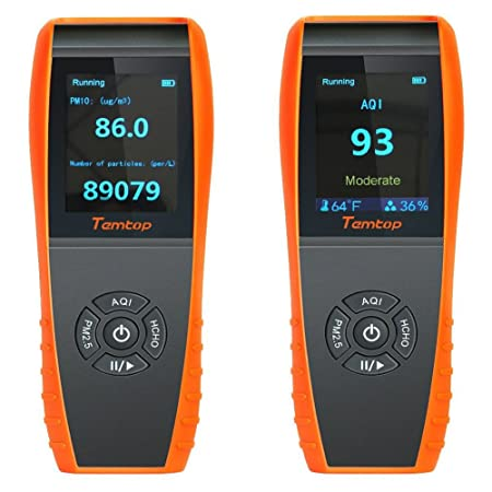 Air Quality Monitor LKC-1000E Indoor Air Quality Detector Professional Monitor Accurate Testing Formaldebyde with PM2.5//PM10//HCHO//AQI//Particles Air Quality Meter Time Display for Outdoor Detection