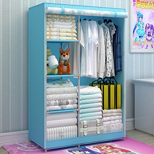Generic Large Fully-enclosed Children Cartoon Dustproof Wardrobe Portable Reinforced Bold Closet Double Armoire New by Generic
