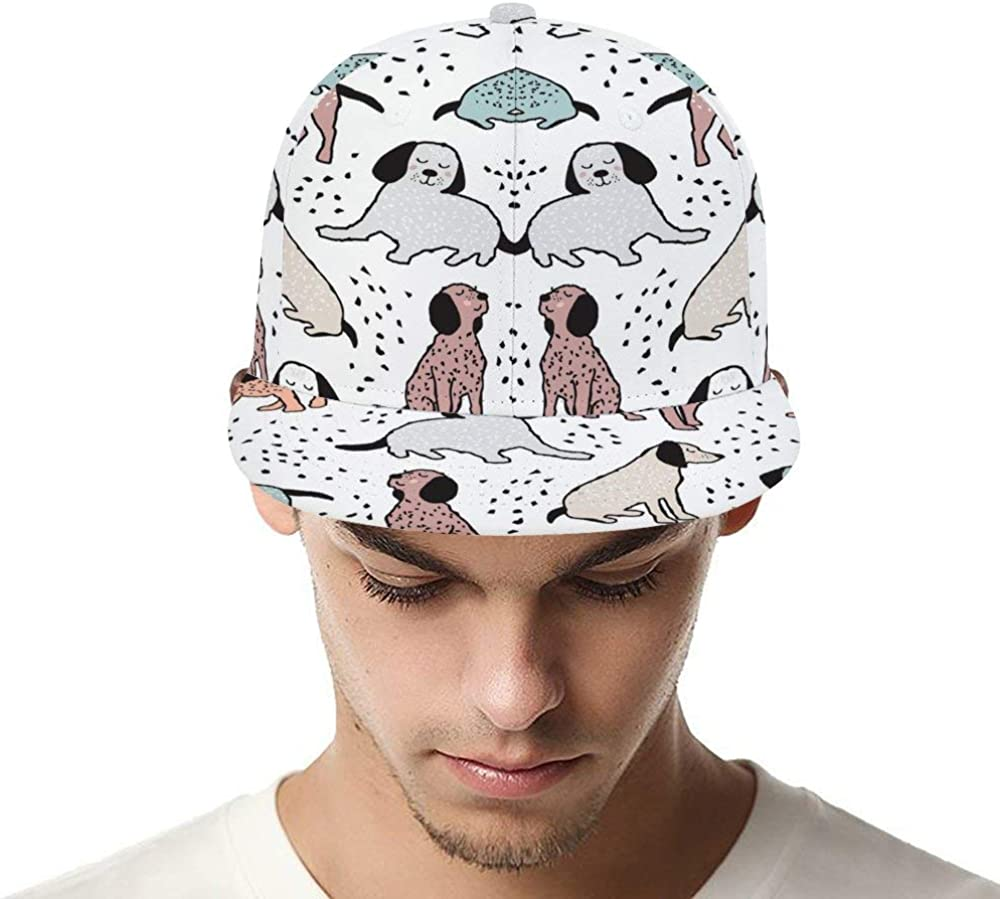 Dongi Colored Puppies Have Black and White Spots Unisex Full-Print Flat Rubber Ball Cap can Adjust Hip-hop Style