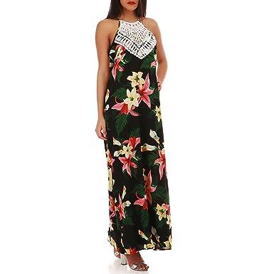 La Modeuse Robe Longue Fluide Avec Imprime Fleur Tropicale Amazon