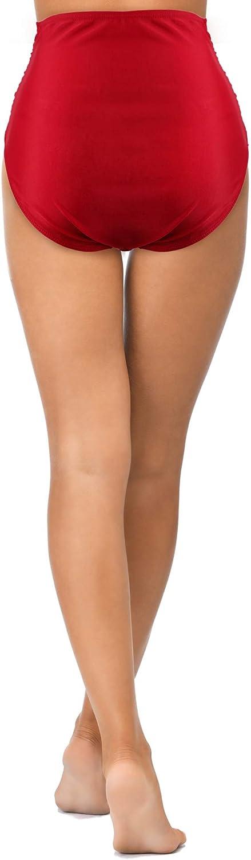 Damen Retro Badehosen Hohe Taille Geraffte Bikini Bottom Tankini Badeanzug Shorts f/ür Berufungen