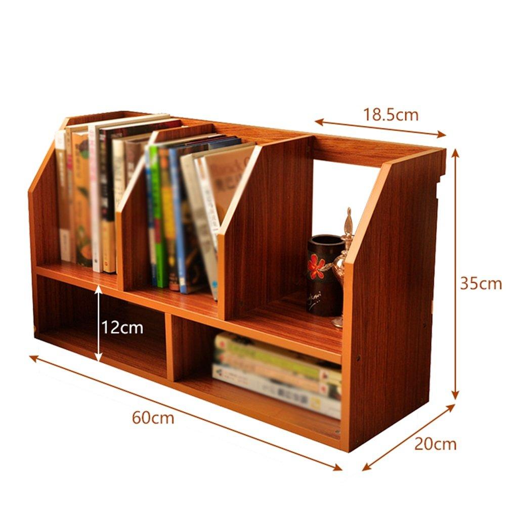 Dark coffee Simple Wooden Bookshelf, Table Rack Storage Box Office Desktop Finishing Shelf Multi-Function Rack (color   Teak color)