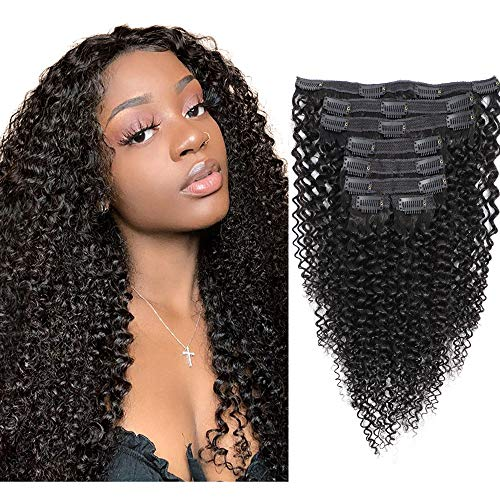 18inch Natural Color 3C 4A Kinky Curly Clip In Human Hair Extensions Brazilian Virgin Hair Curly Clip ins for Black Woman 120g 8Pcs/Set with 18 Clips Remy Hair (Brazilian Kinky Curly Clip In Hair Extensions)