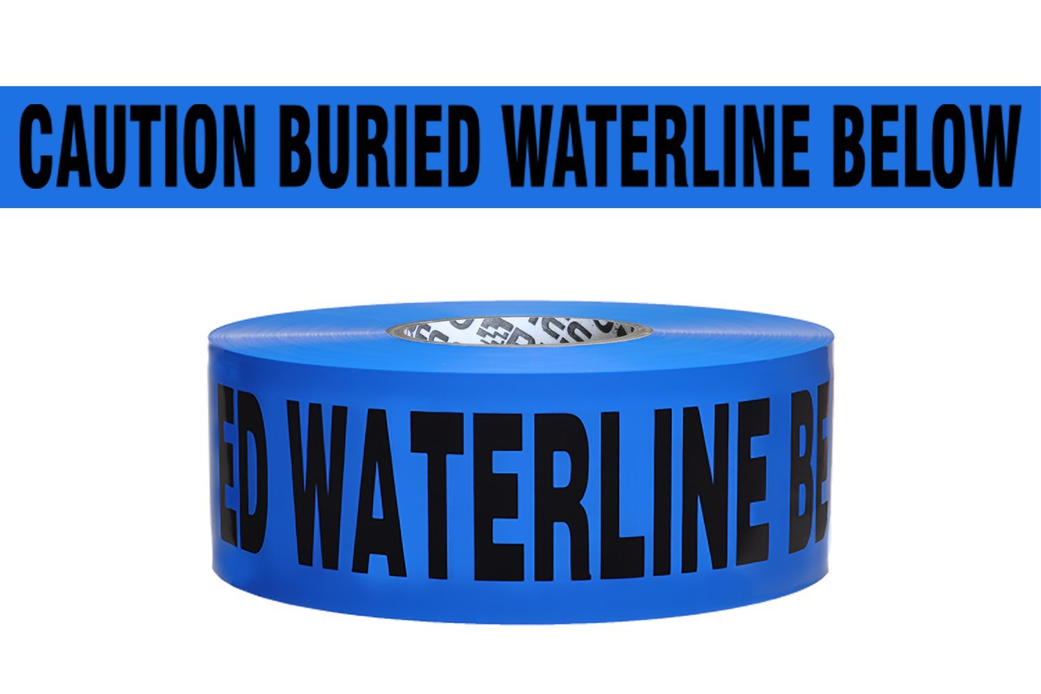 Presco B3104B52 3'' x 1000' 4 mil Blue PE ''Caution Buried Waterline Below'' Electric Non-Detectable Underground Tape, 8'' Height, 3'' Wide, 8'' Length