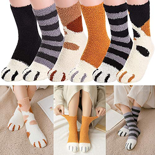 Cat Claws Socks ,6 Pairs Women Cute Cat Claws Fuzzy Fluffy Cozy Slipper Socks Winter Warm Plush Home Lovely Cat Claw Soft Sleeping Socks Christmas