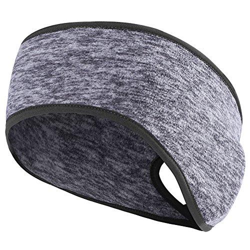 MIFULGOO Women's Ponytail Headband Ear Warmer Head Wrap Yoga Hair Band Running Sweatband (Charcoal-Gray)