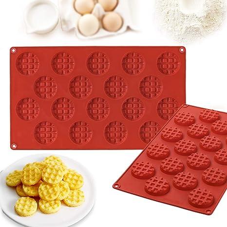 Janolia Molde Horneado, Molde de Silicona para Waffle, Molde Waffle Redondo para Galletas HUM