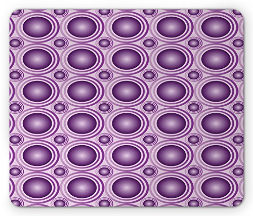 Mauve Mouse Pad by Ambesonne, Gradient and Geometric Circular Pattern with Inner Lines and Ring Balls Digital Graphic, Standard Size Rectangle Non-Slip Rubber Mousepad, - Gradient Mauve