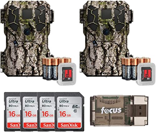 Stealth Cam PX18 14MP Video Camo Trail Camera 2-Pack w Four 16GB Memory Cards Focus USB Reader Bundle