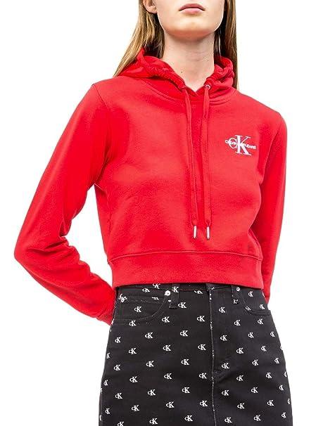 Calvin Klein Sudadera Monogram Hoodie Rojo Mujer: Amazon.es: Ropa y accesorios