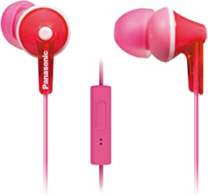 PANASONIC ErgoFit Earbud Headphones with Microphone and Call Controller Compatible with iPhone, Android and Blackberry - RP-TCM125-P - In-Ear (Pink)