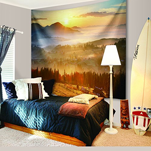 Sun Beams Rays Nature Tapestries Decor, Spring Time Sunset Moss Woods Wall Hanging Tapestry Bedspread Dorm Accessories Decor Beach Throw (90 X 60 Inch, Magical Free Sunrise)