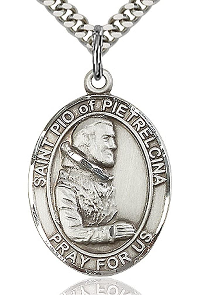 Choose Chain Heartland Engravable Mens Sterling Silver Saint Padre Pio Oval Medal Customize