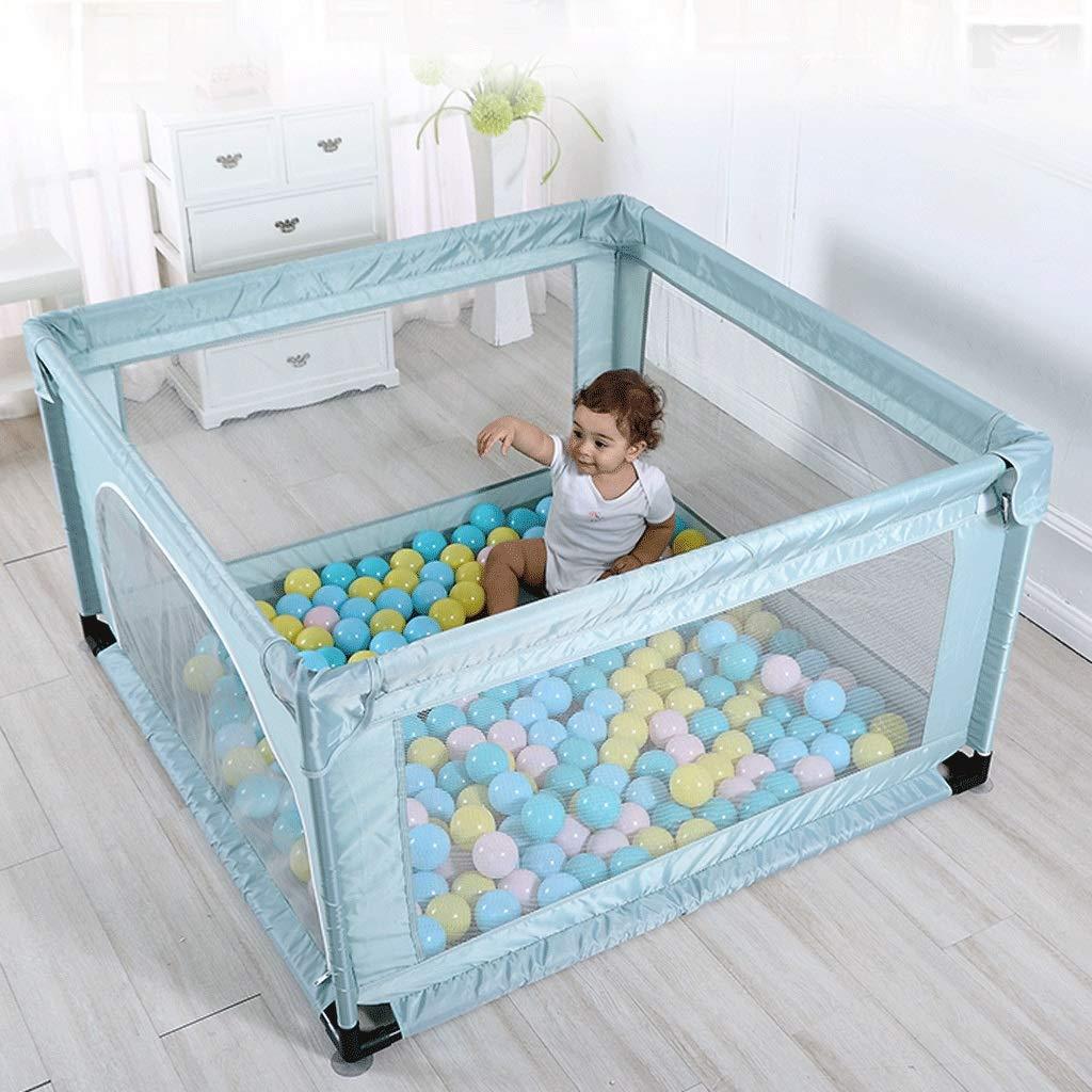 子供の安全フェンス 正方形のネットフェンスと牛のネット布の幼児の屋内安全フェンスグリーン   B07KWKJCTH