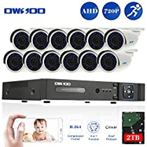 OWSOO 16CH Full 720P 1500TVL AHD DVR Security Kit with 2TB Hard Drive P2P & 12x 720P Outdoor CCTV Cameras, Weatherproof and IR Night Views, Plug and Play