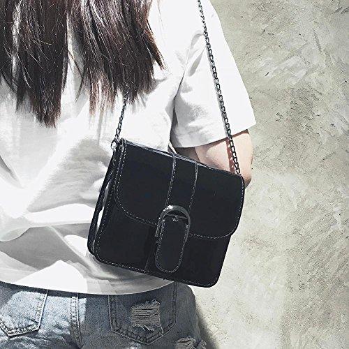 Powlance Women Patent Messenger Bags Black Casual Handbag Leather Shoulder Crossbody Chain 464wxFqrA