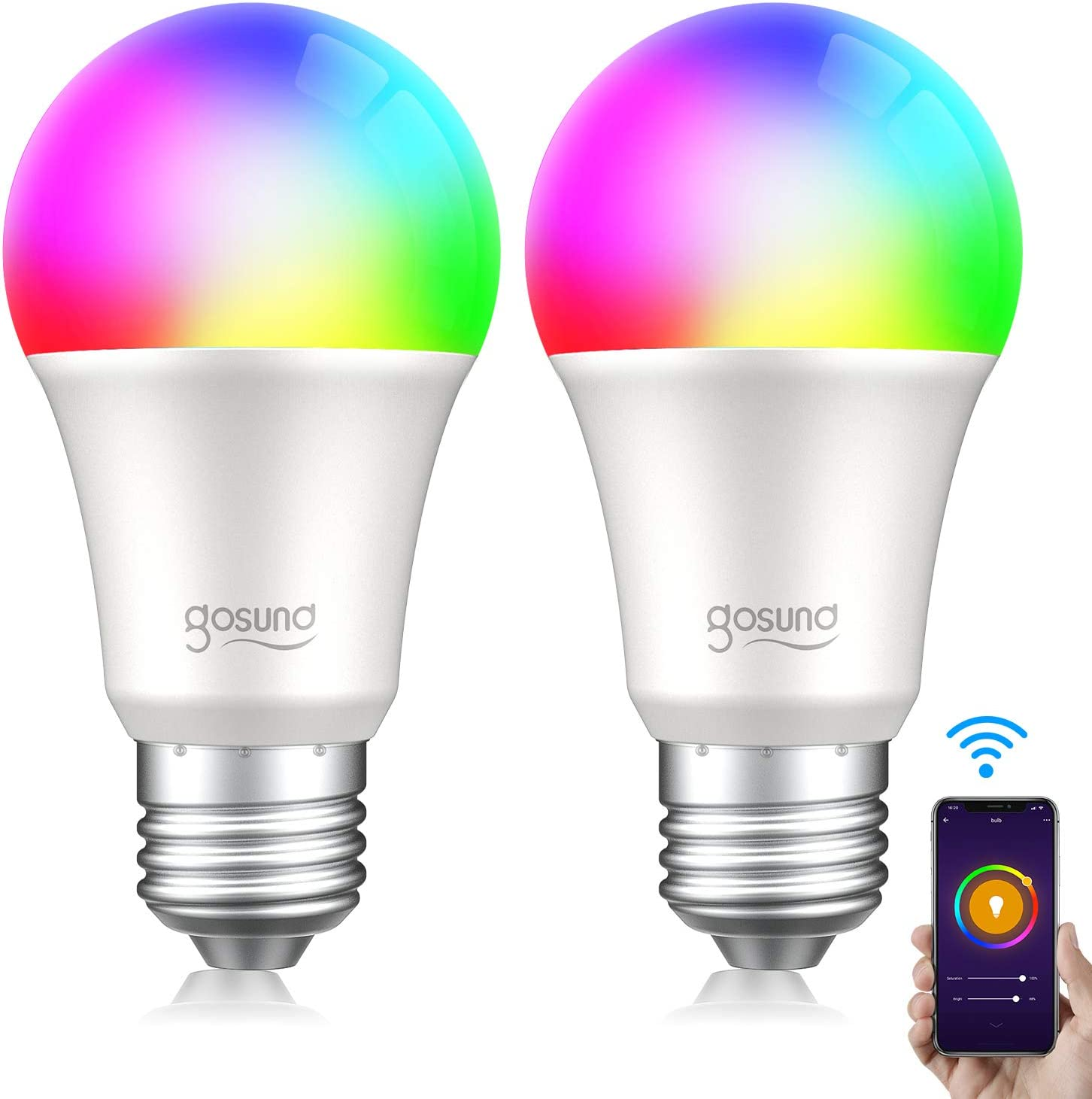 Gosund Bombilla LED Inteligente WiFi, Luces Cálida/Frias de RGB, Lámpara Regulable Compatible con Alexa/Google Home, Smart Light Led E27 8W 800LM, 16 Millones y Brillo Ajustable, 2pcs
