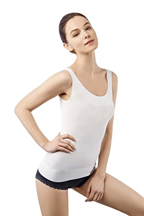 8bc0e9bbdb23c MD Shapewear Womens Tank Tops Body Shaper Camisole For Tummy Waist And Hips  Small White