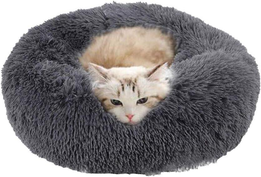 Cozywind Cama Gato Suave Cama Perro Redonda,Mascotas Calentito Cojín Lavable Invierno de Felpa,Diámetro 50cm, Gris Oscuro