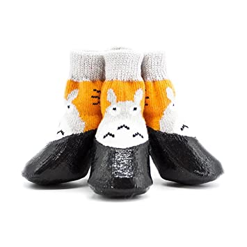Longwei Calcetines Impermeables Para Perros, Zapatos Antideslizantes Para Mascotas, Zapatos Anti-suciedad Para El Otoño Y El Invierno 4PCS Lluvia Botas Pie ...