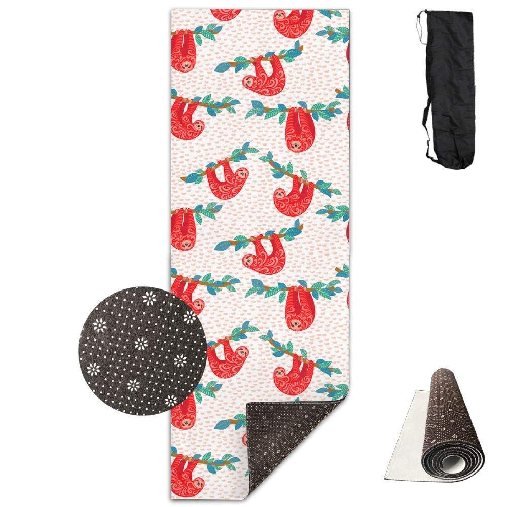 Cute Sloths Ornament Hanging Trees Yoga Mat Towel for Bikram Hot Yoga, Yoga and Pilates, Paddle Board Yoga, Sports, Exercise, Fitness Towel