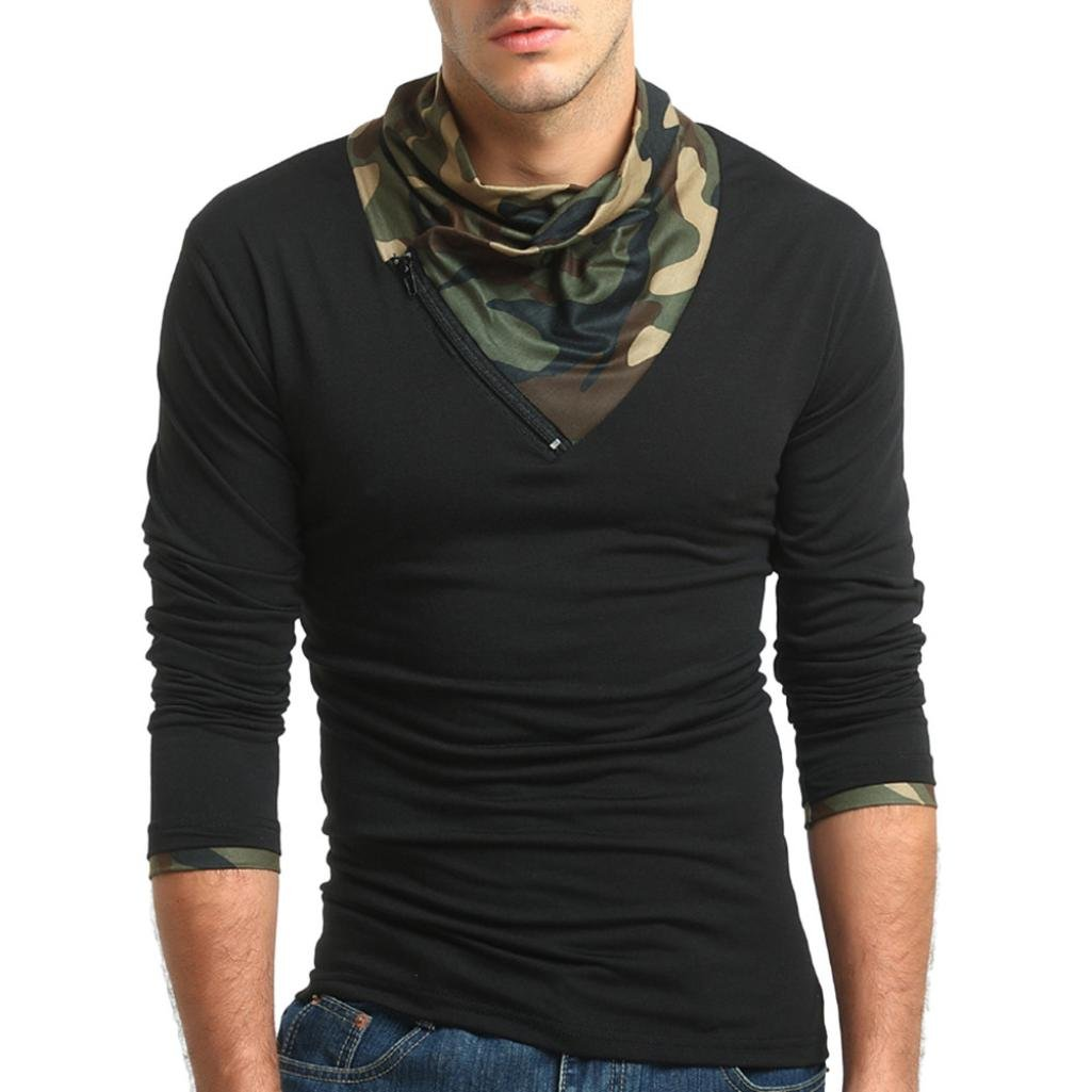 ErYao Men's Autumn Camouflage Long Sleeved Pullover Zipper Sweatshirts Top Blouse (Black, 2XL)