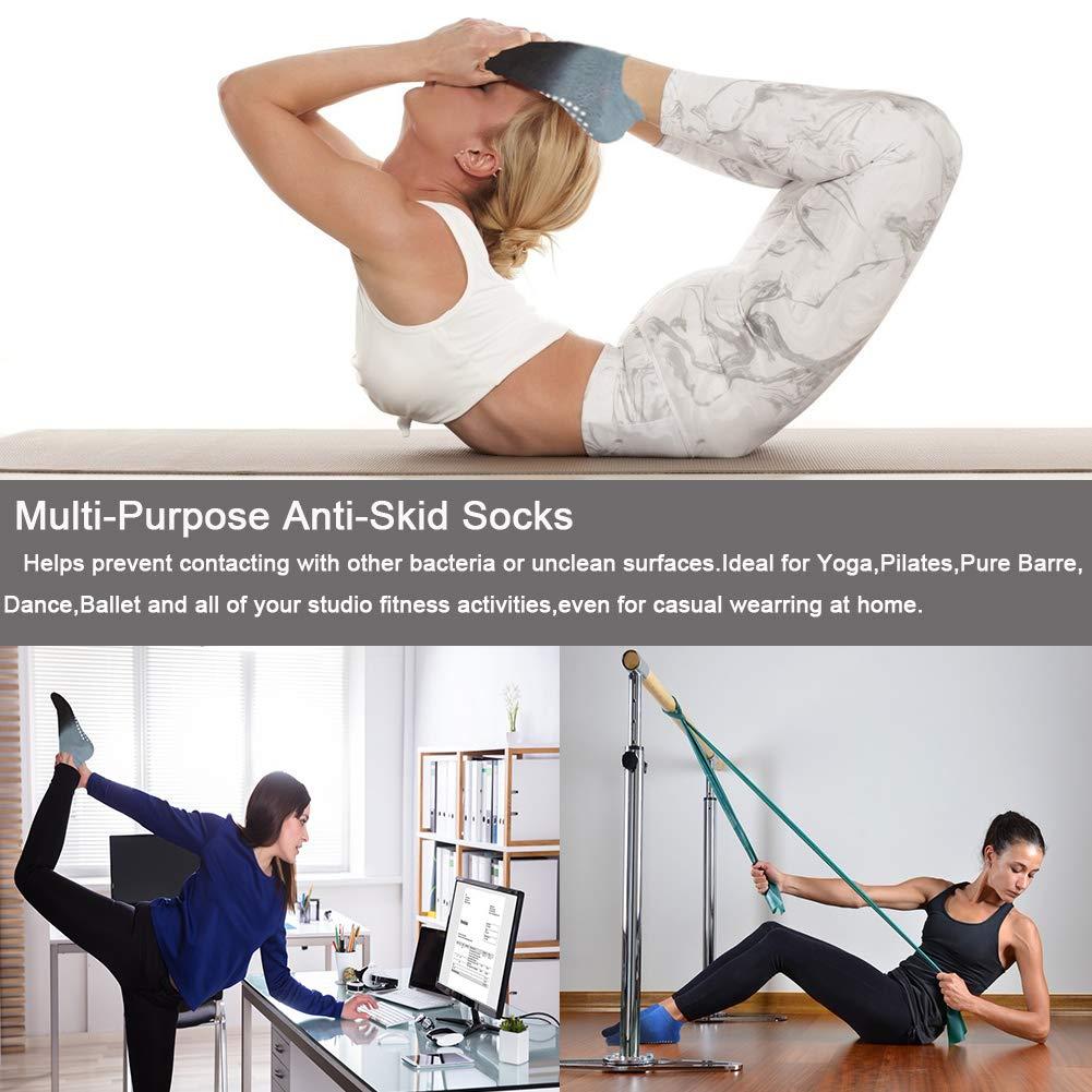Amazon.com: Calcetines de yoga para mujer con empuñaduras ...