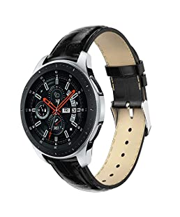 MuSheng For Samsung Galaxy Watch 46MM Armband Band, 210MM Mode Sport Ersatz Leder Watch Ersatz Bügel Armband Band für Samsung Galaxy Watch 46mm (Schwarz)