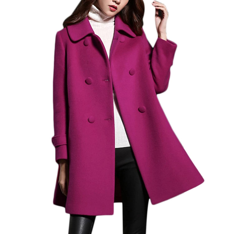 Women Double Breasted Turn-Down Collar A-Line Long Wool Coat Outwear