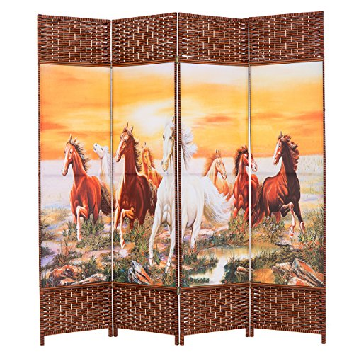 THY COLLECTIBLES Decorative Freestanding Woven Bamboo & Canvas Print 4 Panels Hinged Panel Screen Portable Folding Room Divider (Eight Horses)