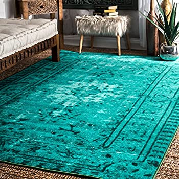 Amazon Com Nuloom Turquoise Machine Made Vintage Inspired