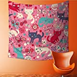 Muyindo Wall Tapestry funny cats cartoon seamless pattern for children background colorful wallpaper with Room Dorm Accessories Wall Hanging Tapestry/27.5W x 27.5L INCH