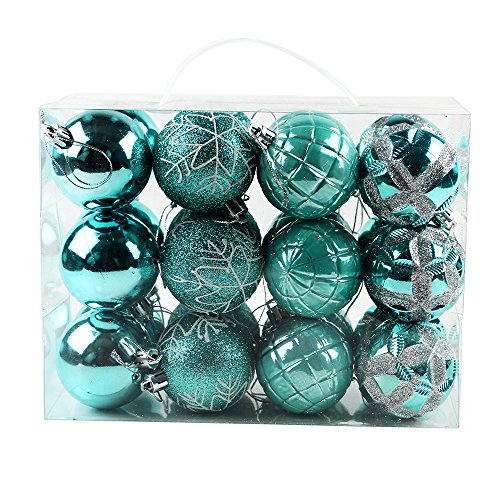 Collifun 24PCS Set Ideal Christmas Balls Ornaments for Xmas Christmas Tree, Decorative Shatterproof Hanging Christmas Baubles Balls for Holiday Wedding Party Delicate Decoration (Turquoise, 60mm) (Baubles Christmas Turquoise)