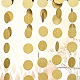Kixnor Glitter Paper Circle Garland Dots Hanging Decor - Circle Event & Party Supplies, Weddings, Birthday Parties, Bridal Showers - 2'' Diameter 10 Feet (Gold)