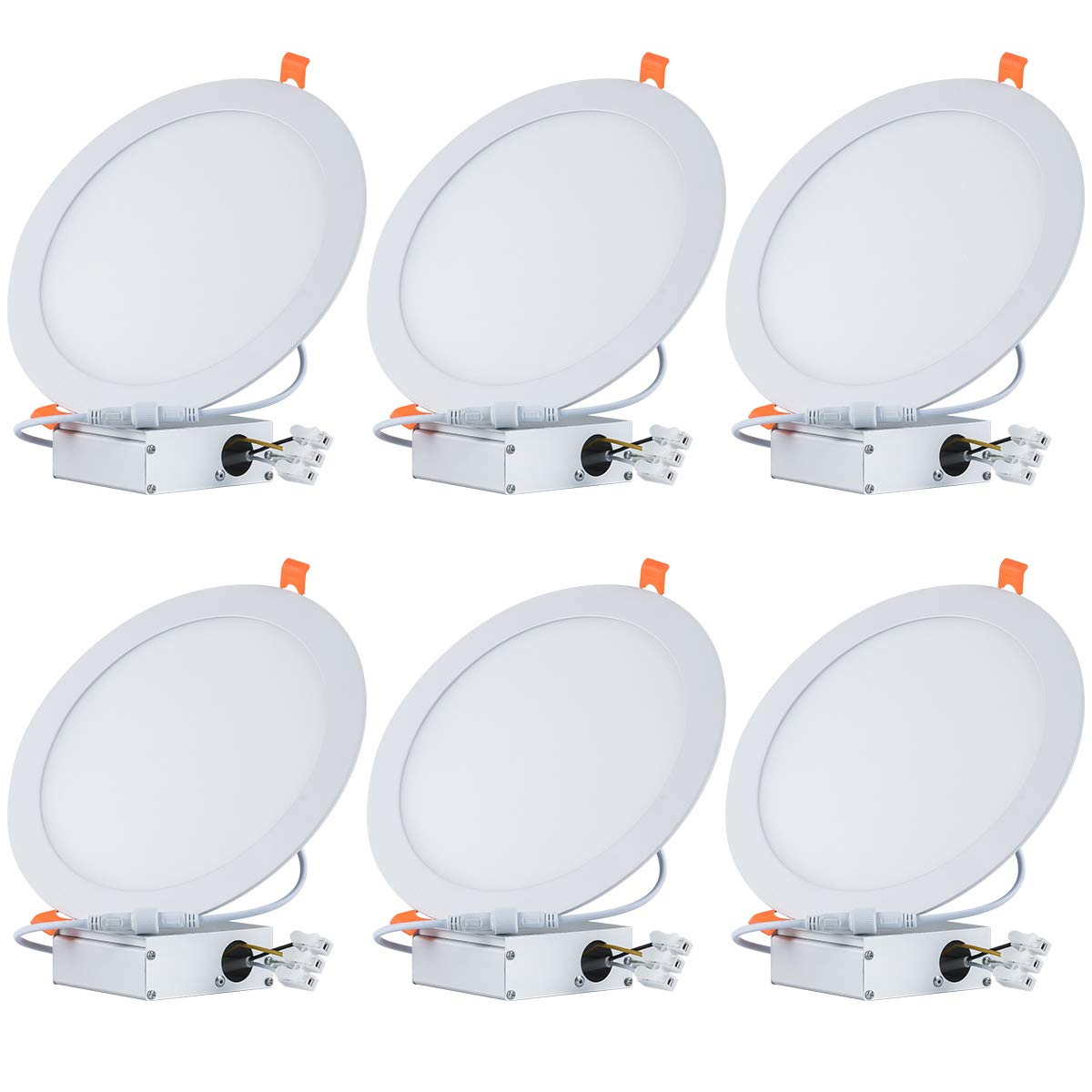 Tonnled 18W 8 Inch Ultra-Thin Recessed Ceiling Light with Junction Box, 6000K Daylight, 1350lm, Not Dimmable Recessed Downlight, Easy Installation, Home, Office, Commercial Lighting, Pack of 6