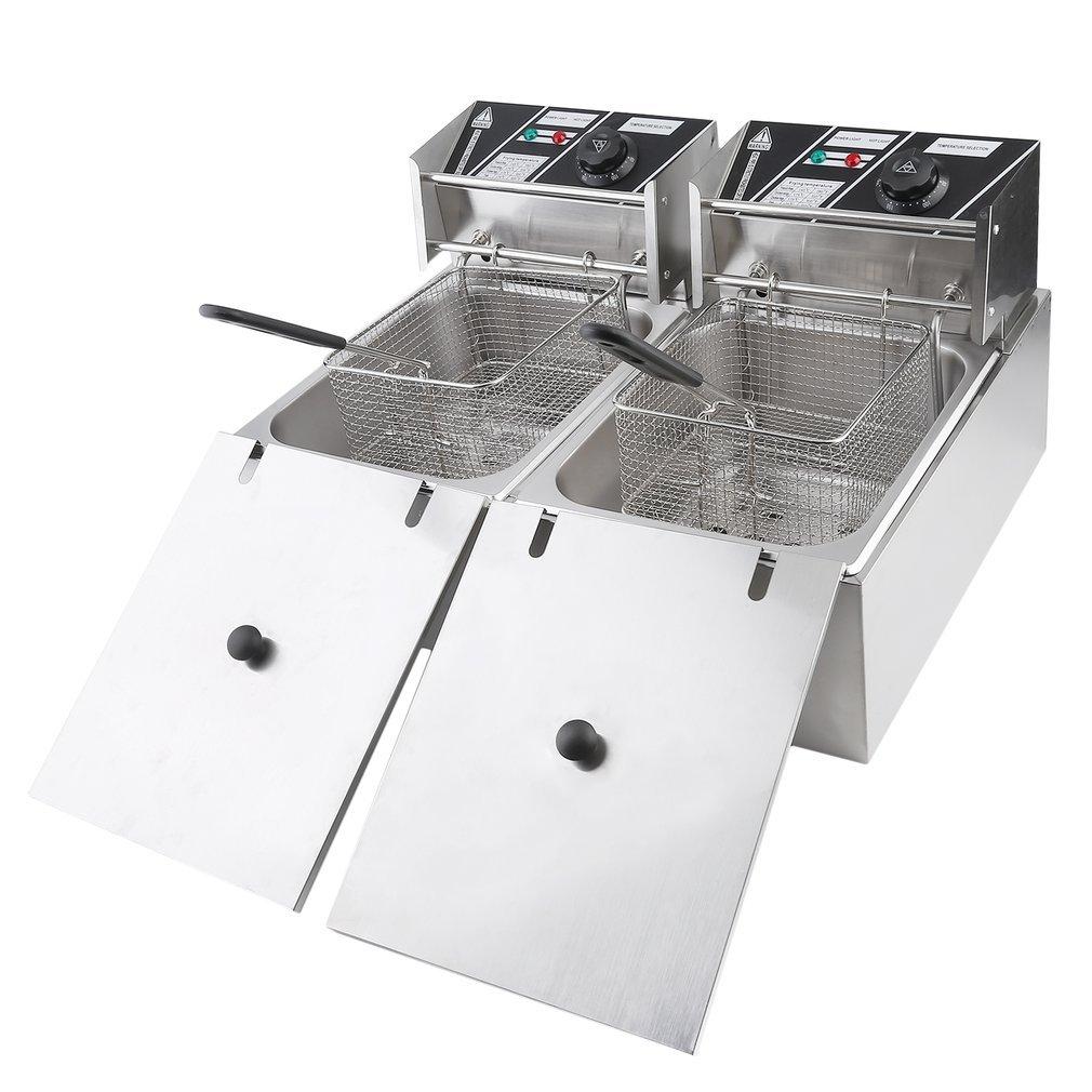hehi Lark eh82 10L Gastronomía tentempiés fritura freidora fritöse grasa Back dispositivo Acero Inoxidable 2500 W, 220 V, Temperatura Regulable (Silver): ...