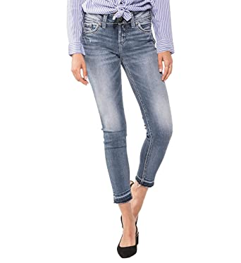 c615fc8b Silver Jeans Co. Women's Elyse Relaxed Fit Ankle Skinny Jeans, Medium  Border Stitch Pocket