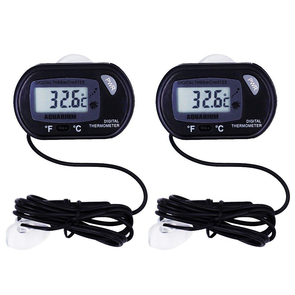 MyLifeUNIT Fish Aquarium Thermometer, Digital Fish Tank Thermometer for Water Reptile Vivarium Terrarium (2 Pack)