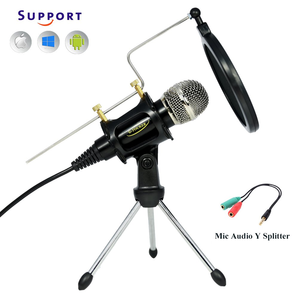 TKGOU Recording Microphone, Plug And Play 3.5mm Microphone Sets With Tripod Stand & Pop Filter Recording microphone for computer/iphone/latop,Great For Youtube,Facebook,Gaming- MC6B