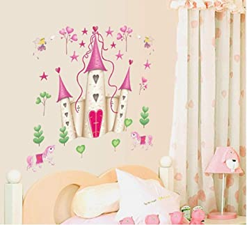 Ufengke Cartoon Prinzessin Schloss Wandsticker Kinderzimmer