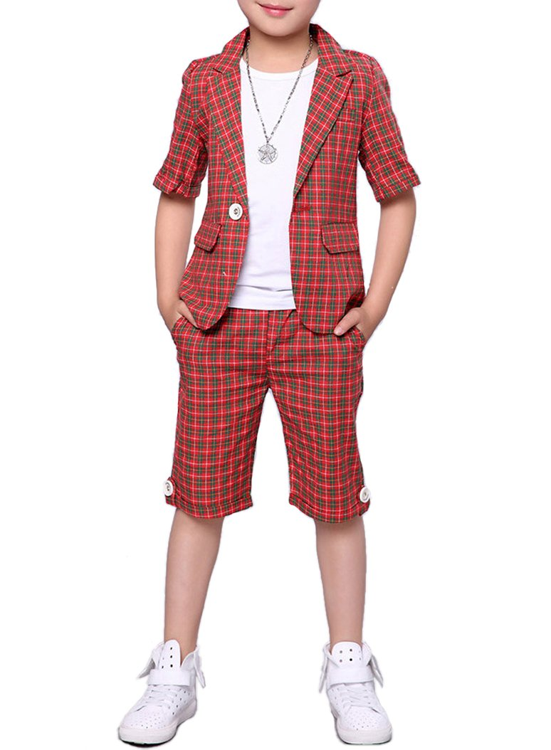 Boys Summer Plaid Suits 2 Pieces Short Sleeve Blazer and Shorts Set 3 Colors (6, Red)
